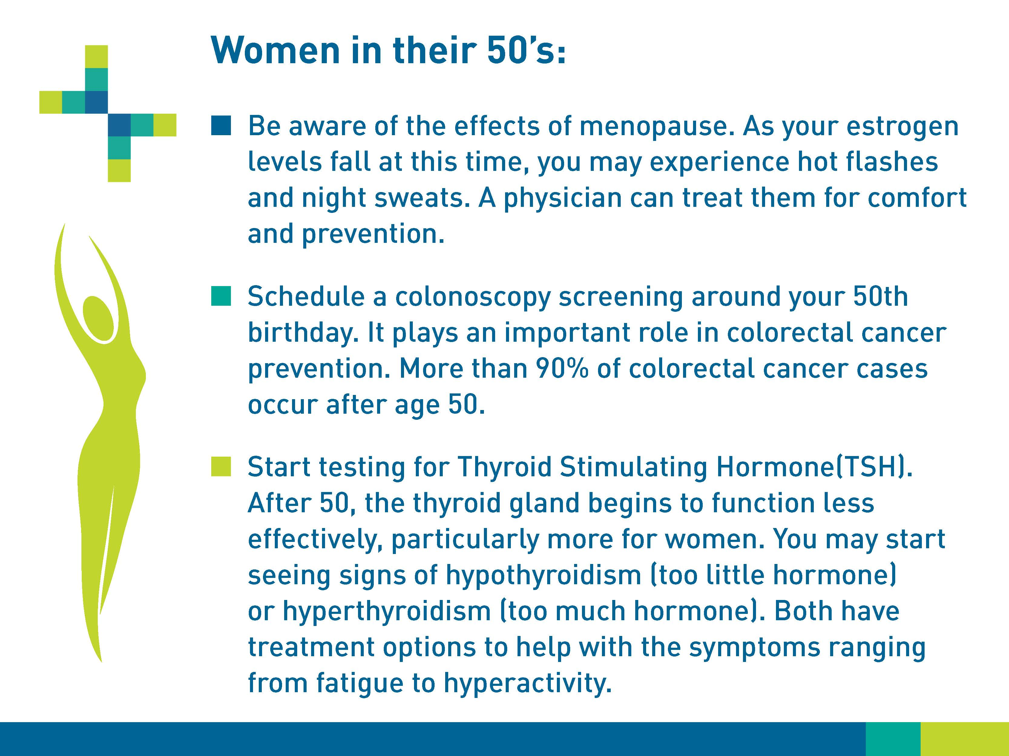 Women in their 50s: Be aware of the effects of menopause. As your estrogen levels fall at this time, you may experience hot flashes and night sweats. A physicians can treat them for comfort and prevention. Schedule a colonoscopy screening around your 50th birthday. It plays an important role in colorectal cancer prevention. More than 90% of colorectal cancer cases occur after 50. Start testing for Thyroid Stimulating Hormone (TSH). After 50, the thyroid gland begins to function less effectivetly, particularly more for women. You may start seeing signs of hyperparathyroidism (too little hormone) or hyperthyroidism (too much hormone). Both have treatment options to help with the symptoms ranging from fatigue to hyperactivity.